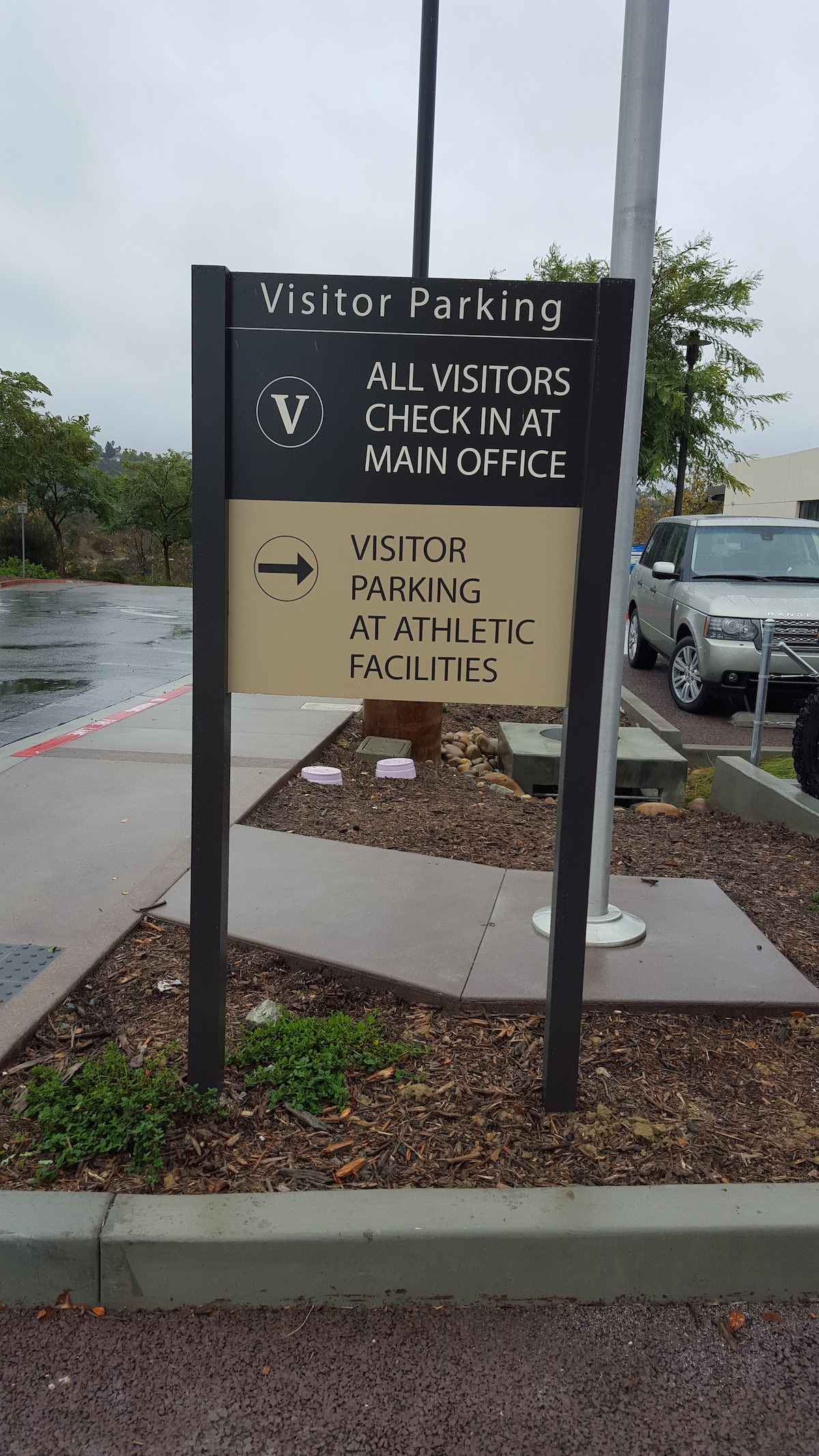 A post and Panel Sign directing visitors to the parking