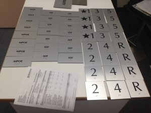 Brushed Aluminum ADA signs ready for install