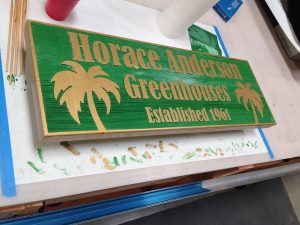 Sand blast redwood signs are used foran olde world look and feel