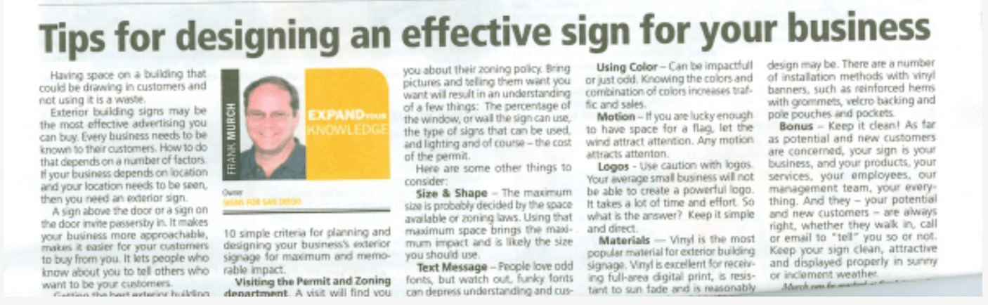 Tips for designing an effective sign for your business