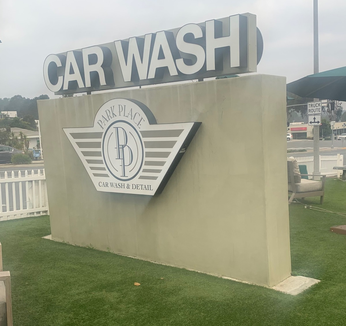 Monument sign with channel letters for turbo carwash