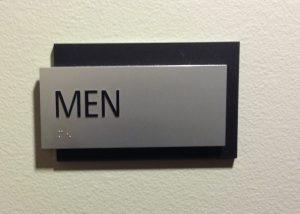 a 2 layer ADA Men's room sign