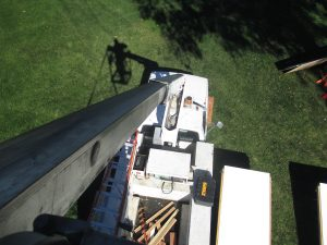 view from the bucket truck above the display
