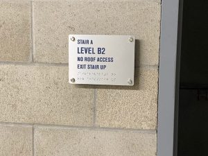 Stair exist ADA sign in Brushed Aluminum