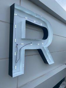 High rise Sign Letter Showing LEDs lit